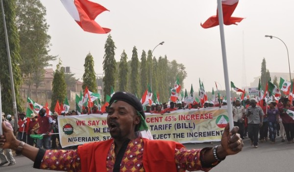 Protesters against new power tariff in Abuja. Photo credit: Daily Trust