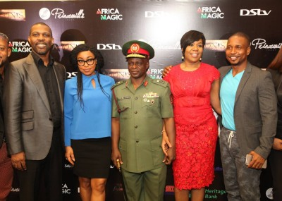 L-R: Prince Tonye Princewill, Executive Producer; Rita Dominic, Nollywood Actress; Major General, Rogers Ibe Nicholas, Chief of Civil Military Affairs, Army HQ.; Wangi Mba-Uzoukwu, Regional Director, M-net West Africa and Adonijah Owiriwa, Executive Producer during the press conference of '76 held in Lagos recently