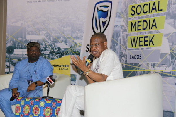 Lai Mohammed speaking at the end of the Social Media Week