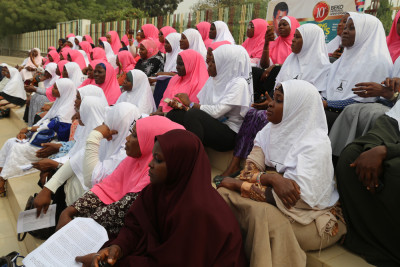 The women awaiting the arrival of the Lagos State House of Assembly Speaker to address them. Photo Credit: Idowu Ogunleye
