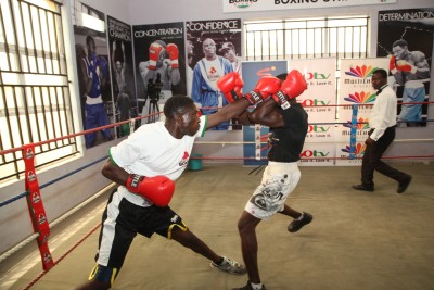 Boxers during one of the sparring sessions at the GOtv    Boxing NextGen Serach at the Lagos Hall of Fame Gym in Surulere