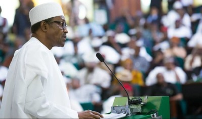 File photo: Buhari presenting his budget speech at the National Assembly