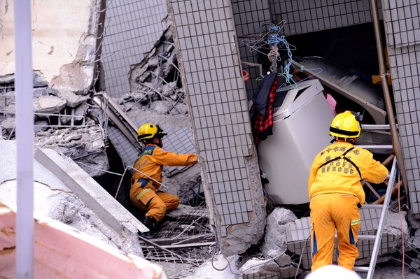 one of the buildings that collapsed after Taiwan quake