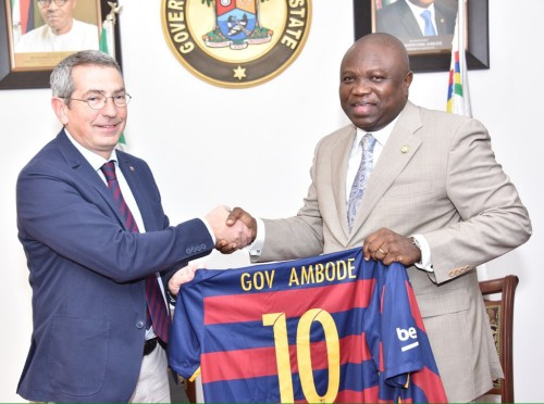 Ambode receives a jersey from FC Barcelona board member,