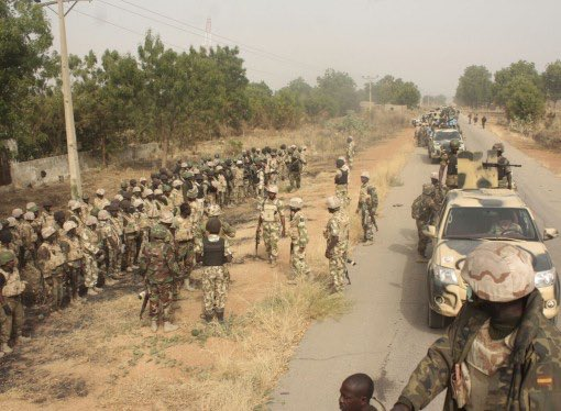 Nigerian soldiers on one of Borno highways