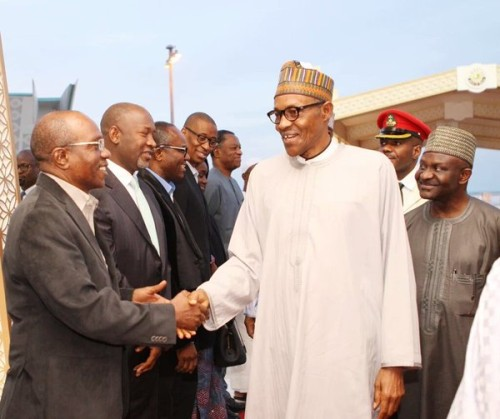 President Buhari meets CBN governor Emefiele and other officials in Doha