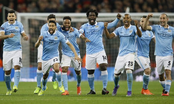 Dance of victory: Man City players at Wembley