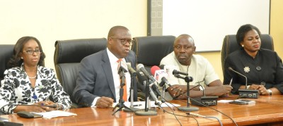 Attorney General & Commissioner for Justice, Mr. Adeniji Kazeem (2nd left), briefing news men on the Establishment of DNA Forensics Laboratory by the Lagos State Government, at the Bagauda Kaltho Press Centre, the Secretariat, Alausa, Ikeja, on Tuesday, February 23, 2016. (L-R) With him are Solicitor General & Permanent Secretary, Ministry of Justice, Mrs. Funmilola Odunlami; Chief Press Secretary to the Governor, Mr. Habib Aruna and Director, Civil Litigation, Mrs. Yejide Kolawole.