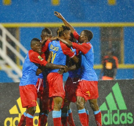 Congolese celebrate one of their goals