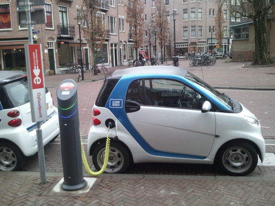 Electric car being charged in Amsterdam