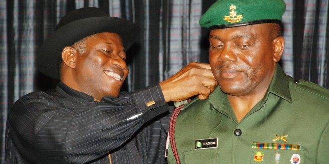 Colonel Adegbe: being decorated by Jonathan