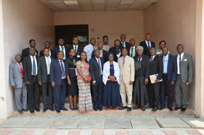 Guest Lecturer, Dr. Omojola Awosusi (in white suit) and the principal officers of the University of Ilorin