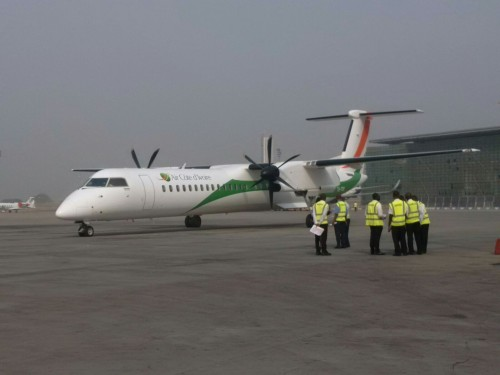 Air Cote D'Ivoire on ground in Abuja