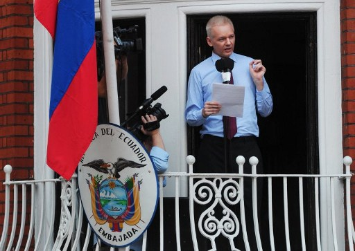 Wikileaks founder Julian Assange at  the balcony of the Ecuadorian Embassy in London on August 19, 2012,