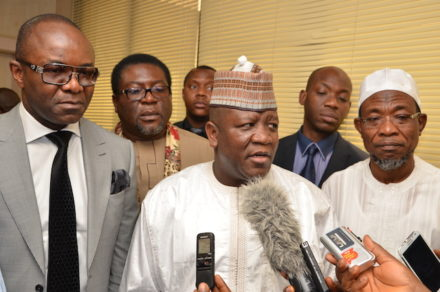 Yari speaks on behalf of the NGF at NNPC Towers. With him on the right is Governor Rauf Aregbesola. Left is Ibe Kachikwu