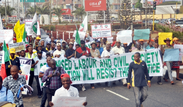 Members of the organised labour protesting at Ikeja Electric today