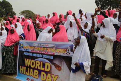 Members of the Central Mosque, Alausa, marking the World Hijab Day. Photo Credit Idowu Ogunleye