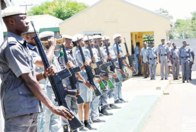 File: Nigerian Customs personnel: responsible for raid on smugglers at Ibarapa
