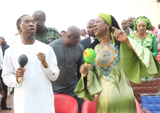 Okowa and his wife at the thanksgiving service