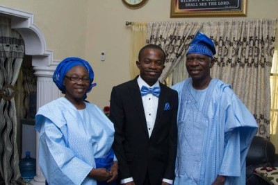 Onubedo 1: Pastor Onubedo (right), his wife (left) and his son, Barnabas, during his wedding