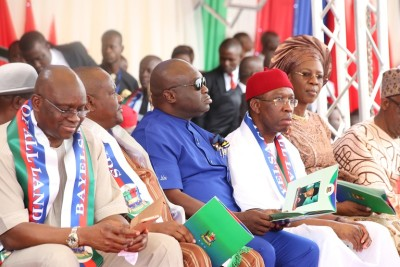 From left; Governors Fayose, Wike, Ikpeazu, Okowa (and his wife, Dame Edith)