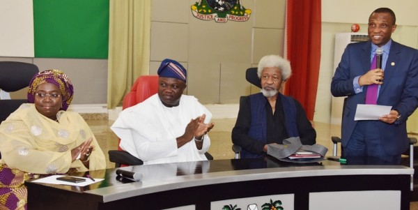 L-R: Governor Ambode (2nd left); Deputy Governor, Dr. (Mrs.) Oluranti Adebule; Chairman, Committee for Lagos @ 50, Prof. Wole Soyinka and Secretary to the State Government, Mr. Tunji Bello, during the inauguration of Committee at the Banquet Hall, Lagos House, Ikeja, on Wednesday, February 10, 2016