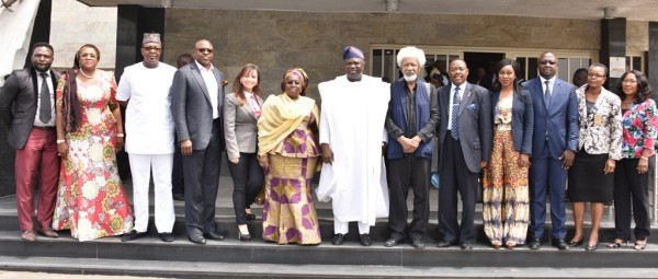 Governor Ambode (middle); Deputy Governor Adebule (6th left); in a group photograph with Prof. Wole Soyinka (6th right) and other members of the Committee