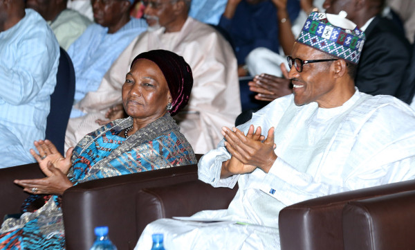 Buhari chats with the Wife of former Head of State, Late Gen Murtala Ramat Muhammed, Mrs Ajoke at the Murtala Muhammed 40th Memorial Lecture held at the Transcorp Hilton in Abuja. Photo Sunday Aghaeze