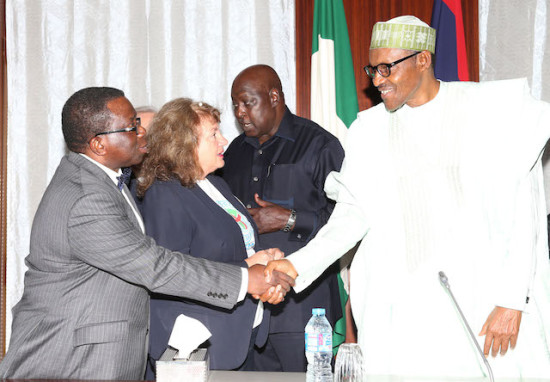 R-L; President Muhammadu Buhari, SGF Mr Babachir David Lawal, Vice President Heart Doctor, Mrs. Eleni Sotiriou and Minister of Health, Prof Isaac Adewole during an audience with Medical Doctors from Greece