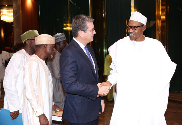President Buhari, Director General, WTO, Ambassador Roberto Azevedo, DG Custom Ahmed Ali (Rtd) during a meeting with WTO team at the State House in Abuja. PHOTO; SUNDAY AGHAEZE.