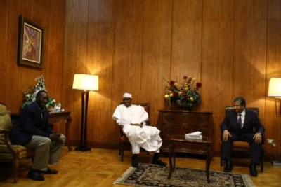 President Buhari with Minister of Environment of Egypt ,Mr Khaled Fahmy and National Security Adviser Babagana Monguno