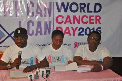 Alhaji Lanre Bello, Leah Cancer Centre Executive Director (left) representative of Mrs. Omolewa Ahmed and other officials of the centre