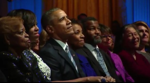 The Obamas and guests a the Special Tribute for ray Charles