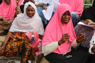 This littlte girl (centre) is not left out either at this year's World Hijab Day celebration . Photo credit Idowu Ogunleye