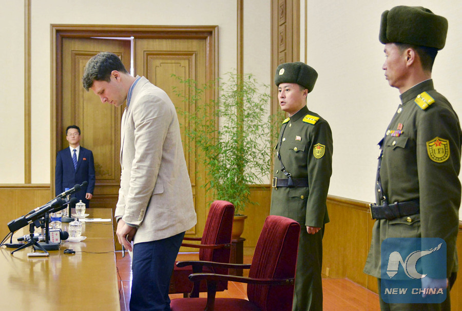 Otto Frederick Warmbier, the US student at the press confession