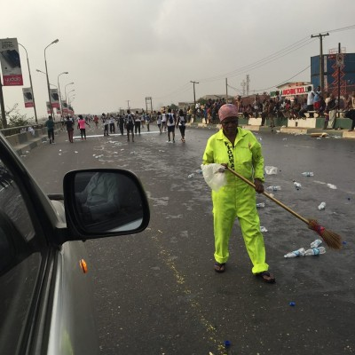 City cleaners at work too as the marathoners ran past