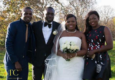 JJC and Funke Akindele (extreme left and right) during the wedding of Tunde and Abi Babalola in London