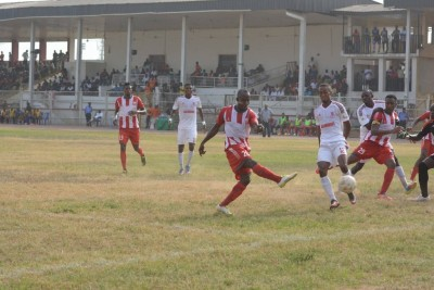 Football action from the NPFL match between Heartland FC and Abia Warriors on Sunday.