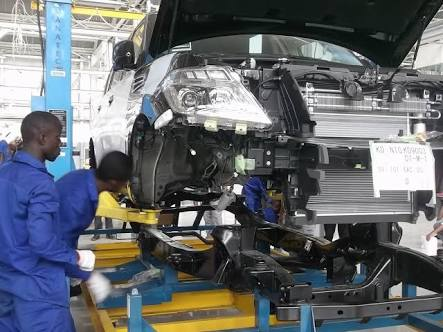 A Nissan being assemble d in Nigeria