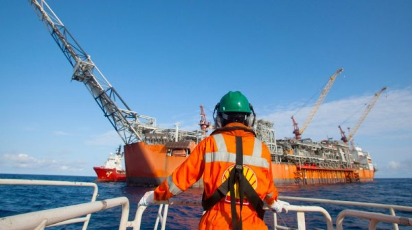 A worker at Shell Bonga project offshore Nigeria