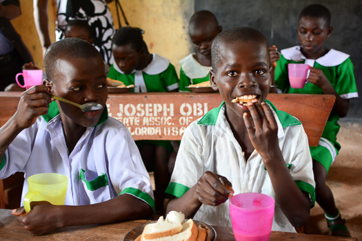Pupils eating in one of Kaduna's primary schools