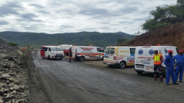 Ambulances at the site of the Makonjwaan Gold Mine in Barberton, Mpumalanga province, South Africa