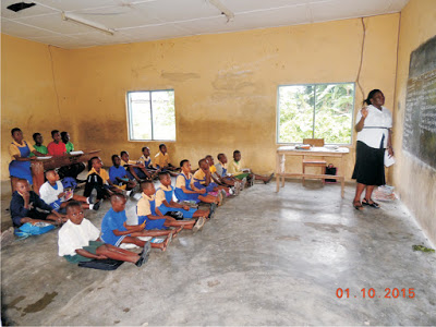 The pupils of St. Paul's Lutheran School in Ikot Ibiok before the help of a private citizen