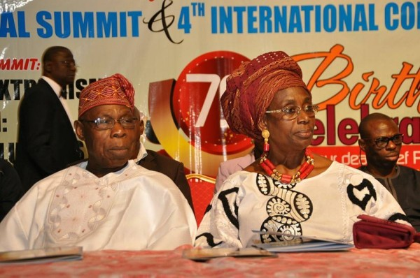 Obasanjo and his wife at the birthday event