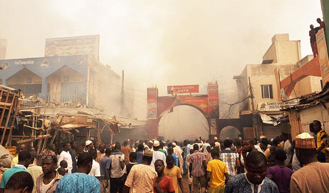 Crowd at Kano market fire