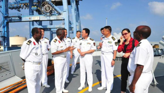 Chinese Navy officials in Djibouti