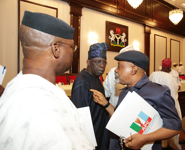 APC Leaders at a caucus meeting on Wednesday in Abuja: Party  is anti-poor