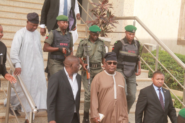 Alex Badeh, stepping out of court to jail. Photo: Femi Ipaye