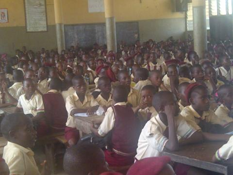 An overcrowded classroom at Igbonla Model College