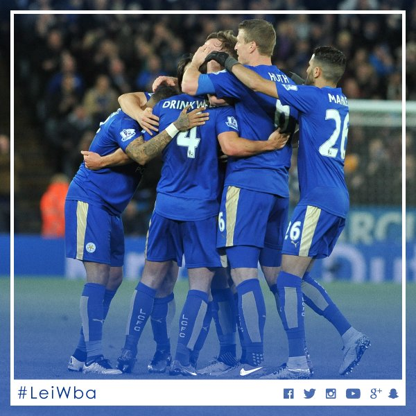 Leicester players rejoice after second goal,  but West Bromwich Albion equalised